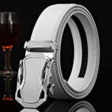 Jiamusi Mens Silver Alloy Automatic Adjustable Buckle Strap Belts Silver one size