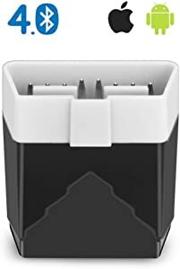 Amtake Bluetooth OBD2 Scanner for iPhone & Android, Bluetooth OBDII Car Diagnostic Scan Tool for Check Engine Light Erase Fault Code Supports inCarDoc, OBD Fusion, Torque