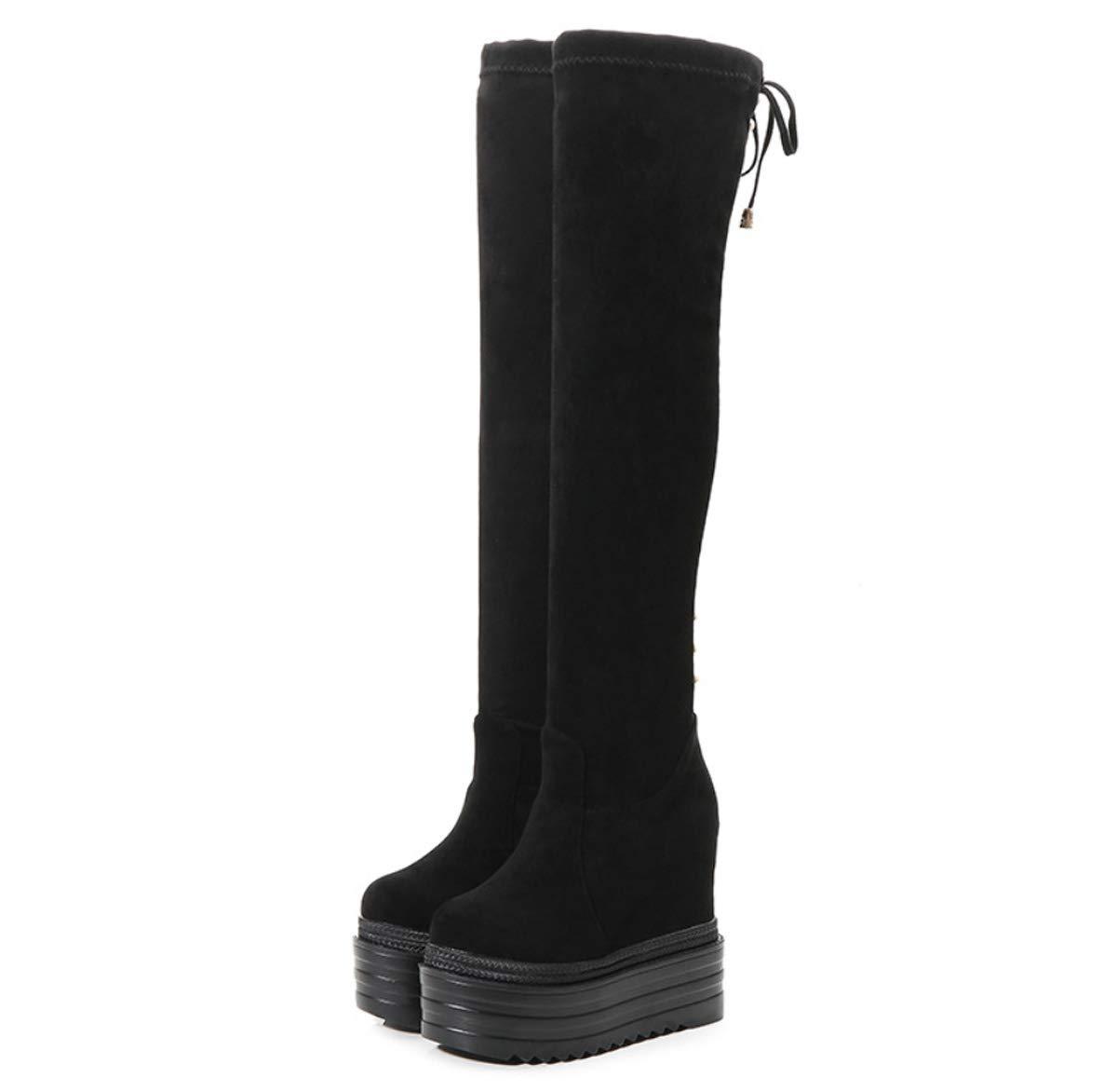 DANDANJIE damen Stiefel Over The Knie Stiefel mit Keilabsatz Rutschfeste Stiefel Winter warme Outdoor Hidden Heels Stiefel