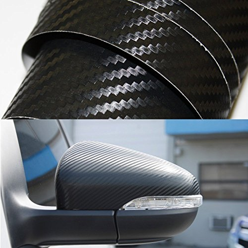 LEDpartsNow 3D BLACK Carbon Fiber Adhesive Vinyl Overlay Wrap Protector for Interior, Exterior, Dash, Spoiler, 48