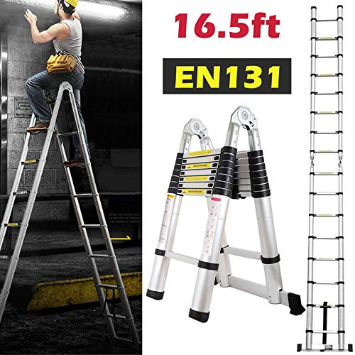 - 16.5ft Aluminum Telescoping Extension Ladder A-Frame Lightweight Portable Multi-Purpose Folding with Support Bar, 330lb Load Capacity