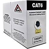 VERTEXCABLES CAT6 Plenum 1000FT 550MHz 23AWG Solid Network Cable UTP Blue