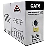 CAT6 PLENUM 1000FT 550MHz 23AWG SOLID NETWORK CABLE UTP WHITE