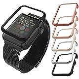 Apple Watch Aluminium Hülle, qualiquipment iWatch Zubehör Case Bumper Cover Schutzhülle 42mm 38mm für Series1, Series2, Series3 (42mm Schwarz)