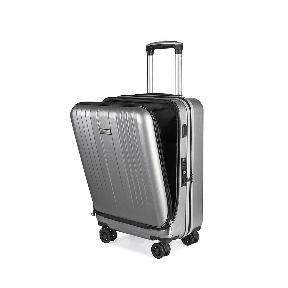 トロリーケース、USB充電ビジネス搭乗トロリーケース、フロントコンピュータバッグPCトランク、男性と女性の旅行スーツケース(20インチ)  Silver B07Q4J69ZM
