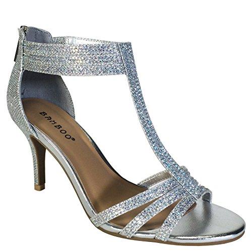 Sandals Womens Holiday (BAMBOO Women's Mid Heel T-Strap Dress Heel Sandal, Silver, 7.0 B (M) US)