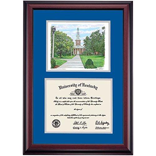 - Campus Linens Kentucky Wildcats Diploma Frame Blue Silver Matting Watercolor