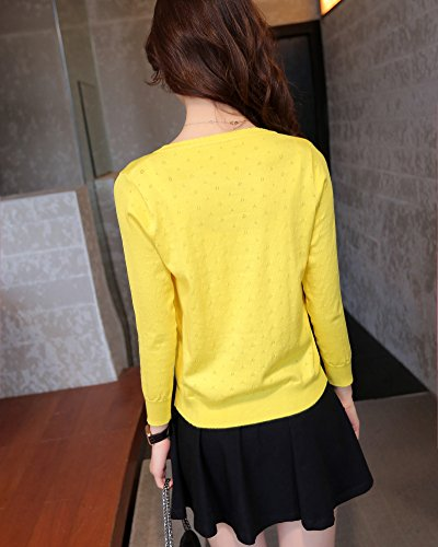 chale manteau creuse section petit Cardigan Slim Femme de conception Courte Jaune anCwqaxt4