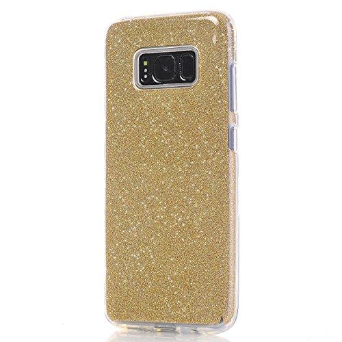 Galaxy S8 Plus Funda, SXUUXB Galaxy S8 Plus Glitter Gradient Pink Carcasa [3-Pedazos] Híbrido Caso Colorido patrón del TPU + Bling Brillante Foil + Cubierta Dura del Interior Plástico Cubierta para Sa Oro