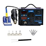hot air rework station - VIVOHOME 2 in 1 110V 862D SMD Soldering Iron Hot Air Rework Heat Gun Solder Station with 4 Nozzles