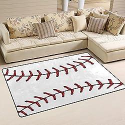 Naanle Sport Baseball Lace Non Slip Area Rug Living Dinning Room Bedroom Kitchen, 3' x 5'(39 x 60 inches), Sport Nursery Rug Floor Carpet Yoga Mat