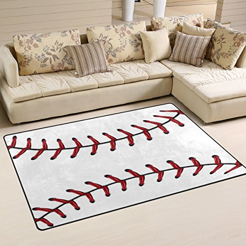 Naanle Sport Baseball Lace Non Slip Area Rug Living Dinning Room Bedroom Kitchen, 3' x 5'(39 x 60 inches), Sport Nursery Rug Floor Carpet Yoga Mat