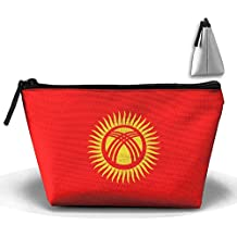 RobotDayUpUP Flag Of Kyrgyzstan Womens Travel Cosmetic Bag Portable Toiletry Brush Storage Print Pen Pencil Bags Accessories Sewing Kit Pouch Makeup Carry Case