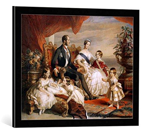 kunst für alle Framed Art Print: Franz Xavier nach Winterhalter Queen Victoria 1819-1901 Prince Albert 1819-61 with... - Decorative Fine Art Poster, Picture with Frame, 25.6x19.7 inch, Black/Edge Grey
