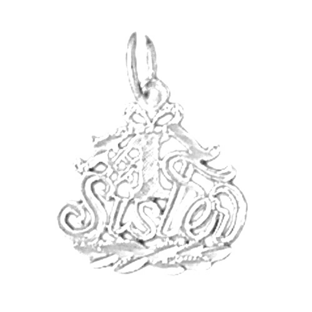 18K White Gold #1 Sister Pendant Made in USA JEWELS OBSESSION 18K #1 Sister Pendant