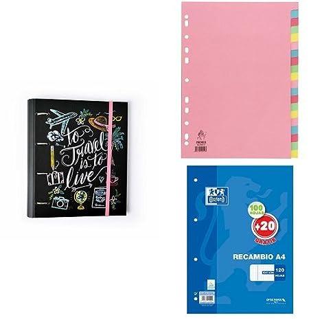 Grupo Erik Editores Carpeta 4 Anillas + White Box - Juego de separadores para archivador + Oxford Classic 400058179 - Recambio hojas sueltas, A4: Amazon.es: ...