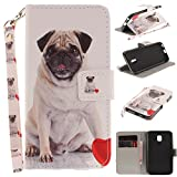 Misteem Case for Samsung Galaxy J3 2017 Animal, Cartoon Anime Comic Leather Case Wallet with Bookstyle Magnetic Closure Card Slot Holder Flip Cover Shockproof Slim Creative Pattern Shell Protective Cover for Samsung Galaxy J3 2017 [Dog Pug]