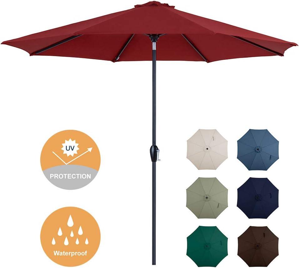 Tempera Patio Umbrella 10ft Outdoor Garden Table Umbrella with Crank and Auto-Tilt 8 Ribs in 200G Olefin Chili