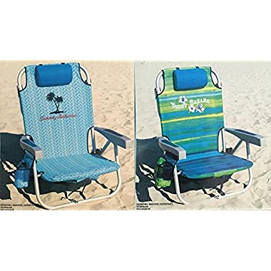 2 Tommy Bahama 2016 Backpack Cooler Chair with Storage Pouch and Towel Bar (Green/Blue & Blue Weave)