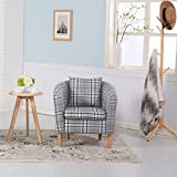 Premium Tartan Fabric Tub Chair Armchair Dining Living Room Office Reception (Grey)