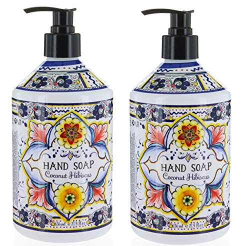 2 Bottles, Italian Deruta Hand Soap, Coconut Hisbiscus 21.5 FL OZ by Home & Body Company