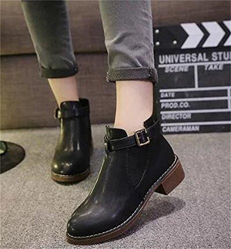 Bukcle Girls' Slip Black on DADAWEN Women's Chelsea Boots IpUqxq7wg