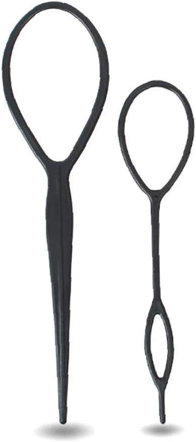 GGOOD 2 Piezas De Trenza del Pelo De La Cola De Caballo Accesorios Labra El Fabricante del Clip Francés Trenza Magic Tool Topsy Tail Lazo del Pelo del Kit para La Hembra Niñas (Negro)