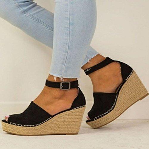 De Femmes Talons Femmes Sandales Bouche Chaussures Poisson De Haute De Noir Coins Des Chaussures Les Juleya D'été 6wqYUx6d1T
