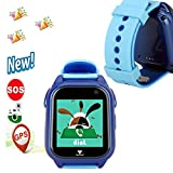 GPS Watch,Hangang IP67 Waterproof Kid Smartwatch Phone - Girl Boy GPS Tracker Locator Fitness Tracker Camera Game Light Anti Lost Alarm for iOS Android Run Swim Outdoor Birthday Gifts-M06(Blue)