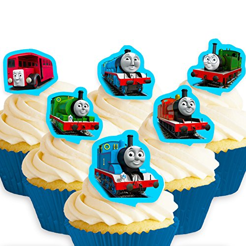 Cakeshop 12 x PRE-CUT Thomas the Tank Engine & Friends Stand Up Edible Cake Toppers -