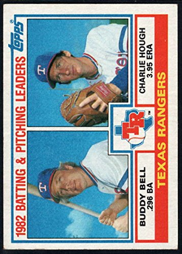 (1983 Topps Baseball #412 Buddy Bell/Charlie Hough Texas Rangers Rangers Batting & Pitching Leaders MLB Trading Card from Vending boxes (stock photos used) Near Mint or better condition Sharp Corners guaranteed)