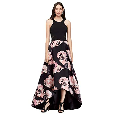 3e8c1979 Jersey and Floral Satin High-Low Ball Gown Style 1042X at Amazon Women's  Clothing store: