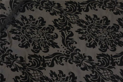 (BLACK ON BLACK VICTORIA FLORAL TAFFETA DAMASK VELVET FLOCK SOFT VELVET FAUX SILK IDEAL 4 CUSHIONS CURTAINS SOFAS UPHOLSTERY CURTAIN FABRIC MATERIAL)