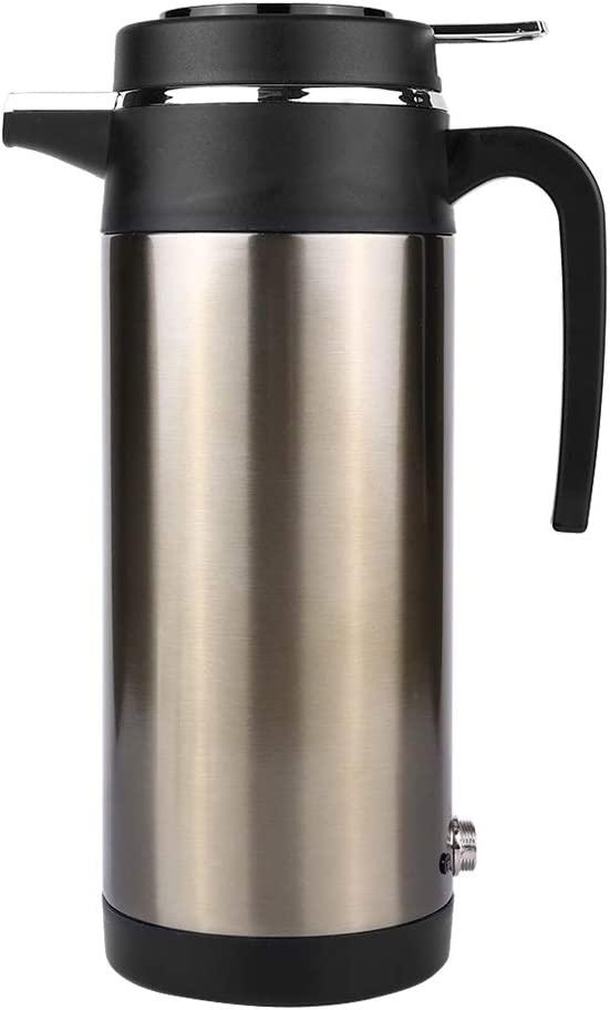 1200ML 12V/24V Electric In-car Kettle,Travel Thermoses, Heating Water Bottle,Premium Grade 18/8 Stainless Steel (12V)