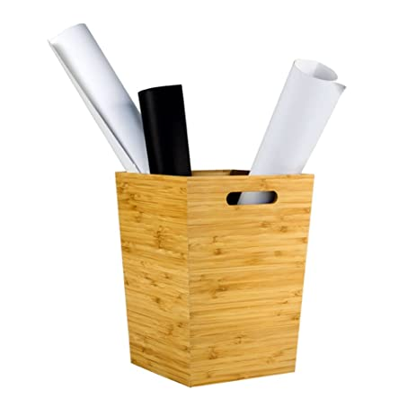 JAJAFOOK Wood Wastebasket Trash Can Bath Collection, Bathroom, Office,  Kitchen,Bamboo Waste
