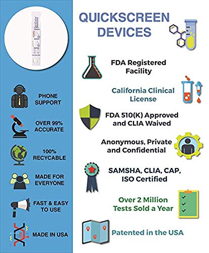 QuickScreen 1 Panel Urine Drug Dip Card 9077T - Marijuana - THC (25) - Made  in USA