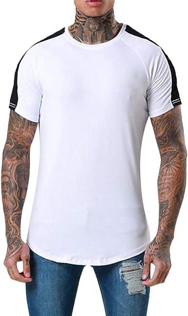 Camiseta para Hombre,Verano Manga Corta Patchwork Moda ...