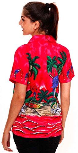 Original King Kameha | Funky Camisa Hawaiana | Mujeres | XS-6XL | Manga Corta Bolsillo Delantero | impresión De Hawaii| Loro |diferentes colores Rosa