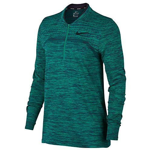 NIKE Zonal Cooling Dry Half Zip Seamless Golf Pullover 2018 Women Neptune Green/Obsidian/Black Medium (Nike Golf Therma Fit 1 2 Zip Pullover)