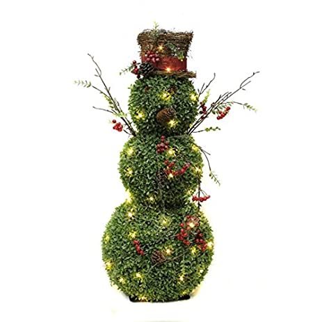 puleo international 36 inch lighted snowman topiary christmas decoration - Topiary Christmas Decorations