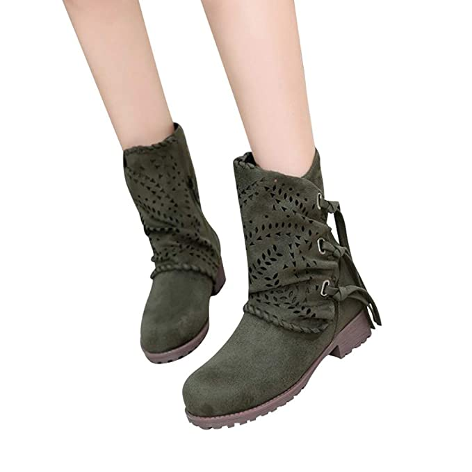 edd1c12a6386f Amazon.com: Lurryly❤Women's Fashion Hollow Out Suede Boots Low Heel ...