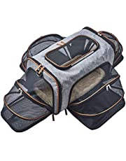 Premium Luxury Tote Airline Approved Expandable Pet Carrier by Pet Peppy- Four Side Expansion, Designed for Cats, Dogs, Kittens, Puppies - Extra Spacious Soft Sided Carrier! (Four Side Expandable)