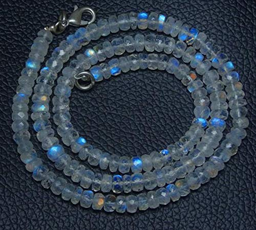 GemAbyss Beads Gemstone 1 Strand Natural 17 inch AAA+++ Blue Flash top Quality Rainbow Moonstone Faceted Roundel Beads Necklace 4 to 5 Code-MVG-29147