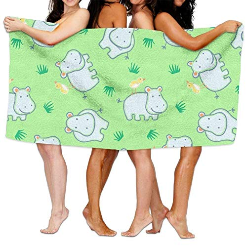 (Microfiber Sand Free Beach Towel Blanket, Absorbent Lightweight Thin Towels, Happy Hippo with Friendly Bird Print Sports Beach Towel)