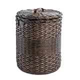 The Basket Lady Round Wicker Hamper | Wicker Laundry Hamper, Large, Antique Walnut Brown