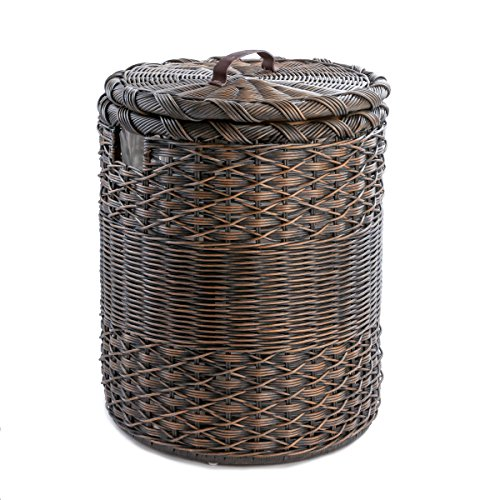 The Basket Lady Round Wicker Hamper | Wicker Laundry Hamper, Large, Antique Walnut Brown by The Basket Lady