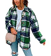 Himosyber Women's Casual Bust Woolen Plaid Lapel Button Down Shacket Jacket Shirts Coat