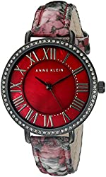 Anne Klein Women's AK/1617BMBY Swarovski Crystal Accented Burgundy Snake Patterned Leather Strap Watch