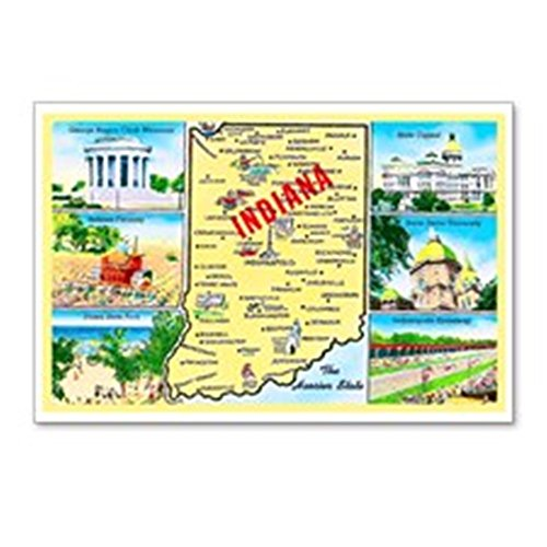 CafePress Indiana Map Greetings Postcards (Package of 8), 6