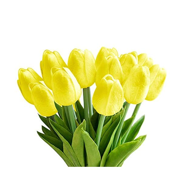 StillCool Artificial Flowers 12pcs/Bag Mini Tulip Fake Flowers Great for Wedding Party Home Room Decor (Yellow)